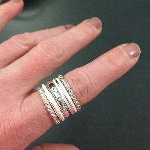 Banana Republic Silver / White Enamel Ring Set